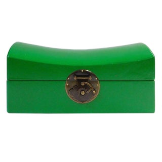 Chinese Traditional Bright Green Pillow Shape Container Box For Sale
