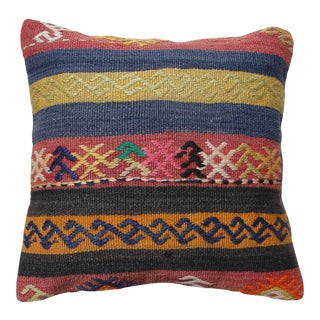 """Kilim Rug Pillow Cover, 16"""" X 16"""", Turkish Pillow, Traditional Kilim Pillow, Pillow, Kilim Pillow, Pillow Cover Case For Sale"""