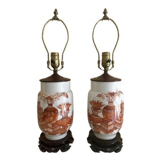 Antique Kutani Porcelain Lamps - A Pair