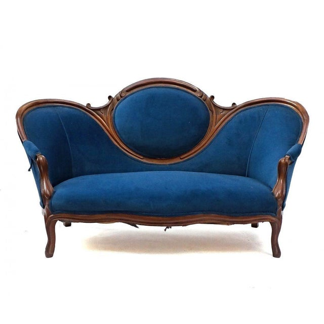 Textile 19th Century Antique Victorian Sofa For Sale - Image 7 of 8