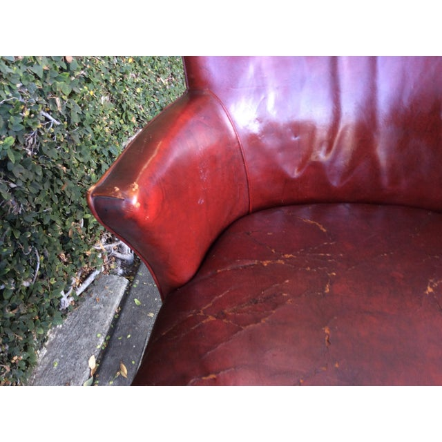 Vintage Red Leather Side Chair For Sale - Image 9 of 9