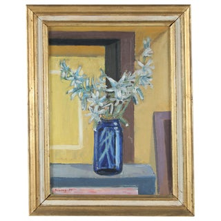 Blue Jar Still Life Painting For Sale