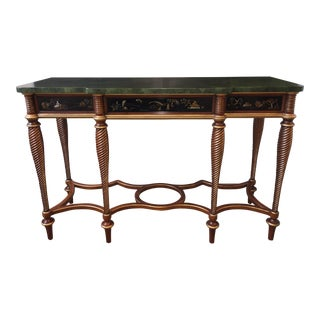 Hand Painted Faux Marble-Top Chinoiserie Console Table For Sale