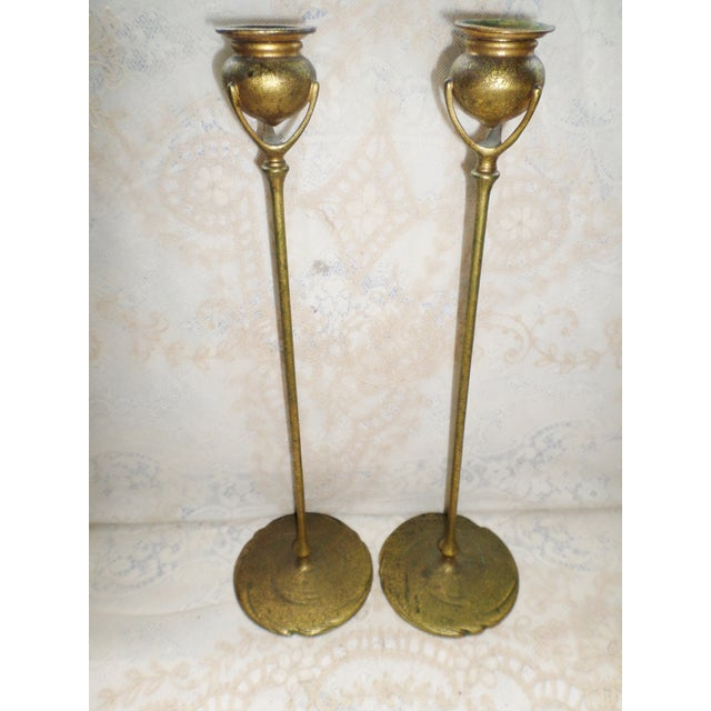 Tiffany Studios Antique Tiffany Studios Bronze Candlesticks With Gold Gilt - a Pair For Sale - Image 4 of 13