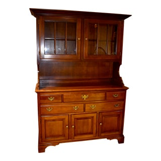 1980s Vintage Vogel Traditional Style Two Piece China Cabinet For Sale
