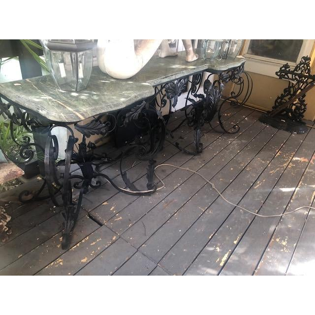 French Large Antique French Marble Top Console Table Iron Base For Sale - Image 3 of 10
