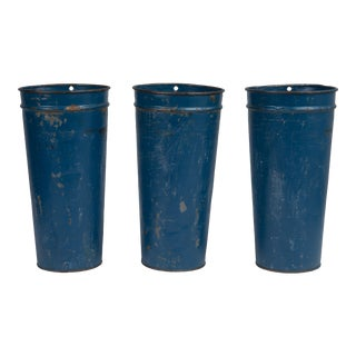 Antique Blue French Florist Flower Buckets Hanging - a Set of 3 For Sale