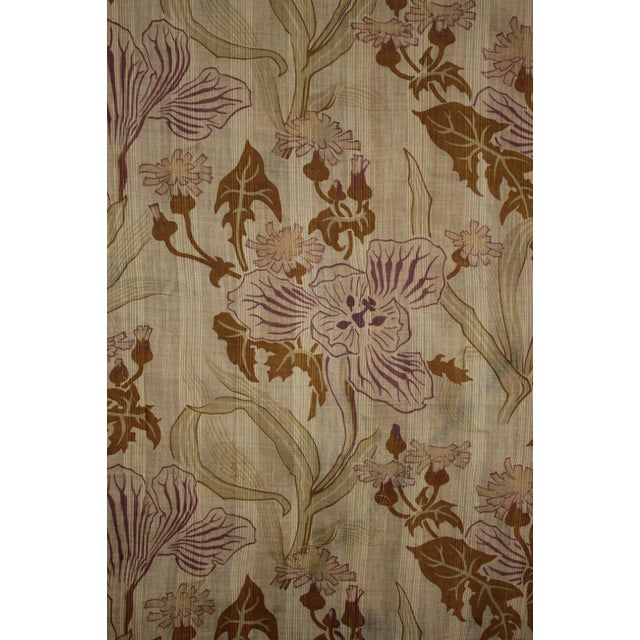 Antique French Art Nouveau Light Weight Cotton Roller Print Floral Sheer Fabric For Sale