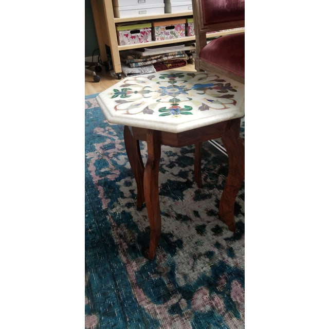 Vintage Hardstone Inlaid Marble Top Octagonal Side Table For Sale - Image 9 of 12