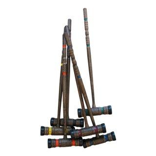 Vintage Wood Croquet Mallets - Set of 6