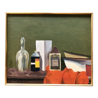 Original Vintage Modernist Still Life Painting With Bottles