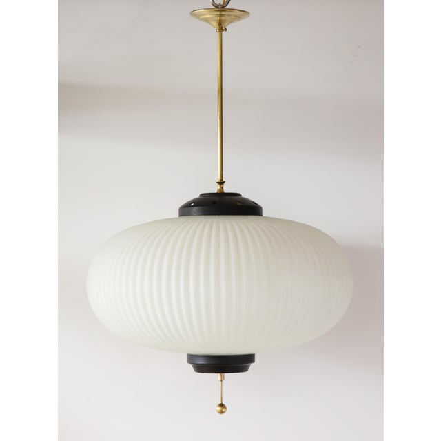 Mid-Century Modern Stilnovo Ribbed Milk Glass Globe Lantern For Sale - Image 3 of 13