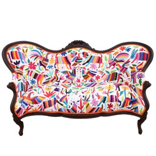 Modern Antique Victorian Hand Embroidery Settee For Sale