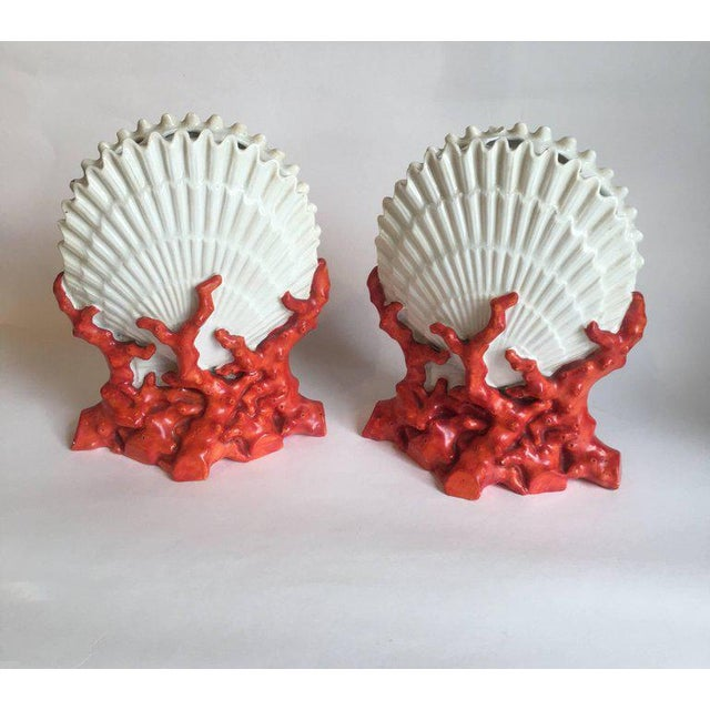Pair of 19th century Staffordshire porcelain coral and shell form bough pots (tulipieres) with similar candlesticks. Bough...