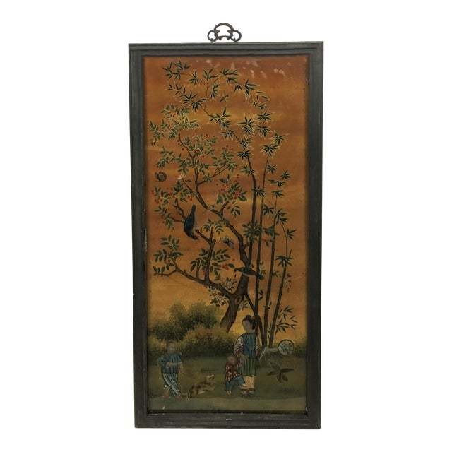 Vintage Chinese Scroll Painting Panel in Original Frame For Sale