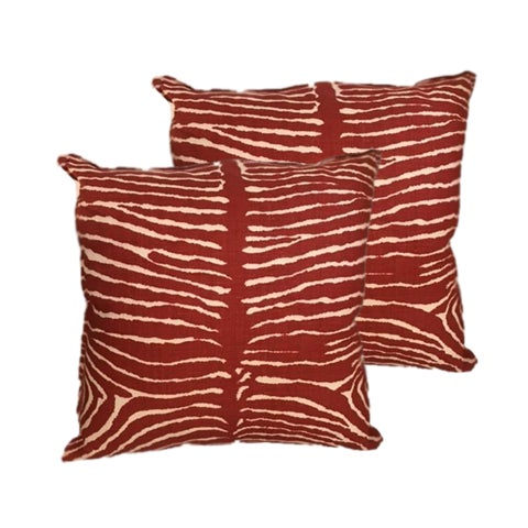 Brunschwig & Fils Red Zebra Pillows - A Pair - Image 1 of 3