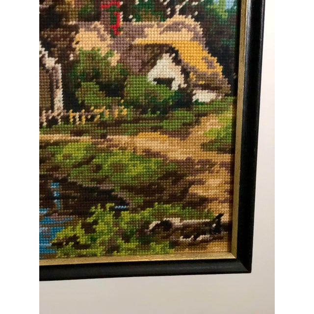 Vintage Needlepoint Tapestry of an English Landscape For Sale In Atlanta - Image 6 of 9