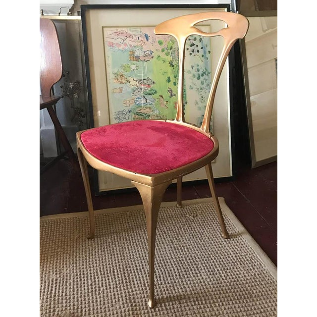 Boho Chic Vintage Hollywood Regency Gilt Metal Chair For Sale - Image 3 of 10