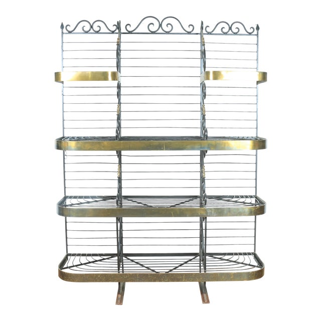 Wrought Iron and Brass Bakers Rack For Sale
