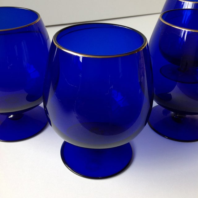 Ralph Lauren Cobalt Blue Brandy Glasses - Set of 4 For Sale In Chicago - Image 6 of 8