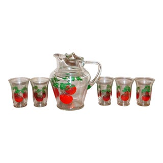 Federal Glass Red and Green Tomato Pitcher Set - Six Pieces For Sale
