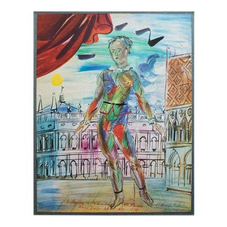 """1940s Raoul Dufy """"Venetian Harlequin"""", First Edition Period Swiss Lithograph For Sale"""