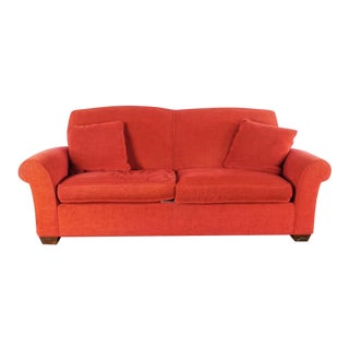 Modern Crate & Barrel Contemporary Red Upholstered Two Cushion Sofa For Sale