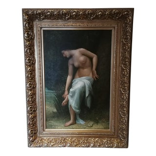 18th Century Antique Woman Before Bathing Oil Painting For Sale