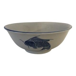 Vintage Koi Fish Design Large Serving Bowl For Sale