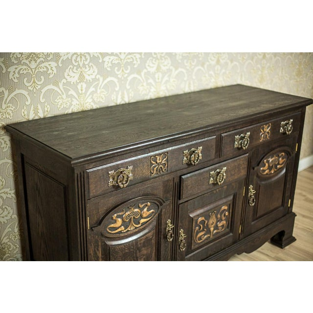 1910 Art Nouveau Oak Commode or Sideboard For Sale - Image 9 of 13