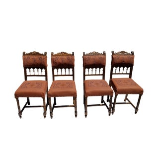 Late 19th Century English Traditional Embroidered 100% Genuine Cow Leather Dining Chairs - Set of 4