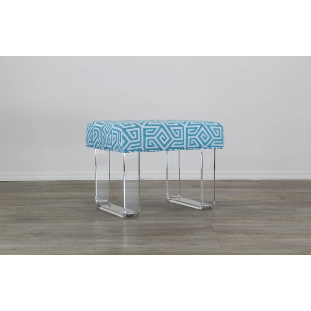 Contemporary Acrylic Waterfall Benches- a Pair For Sale - Image 3 of 12