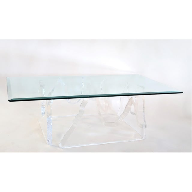 2 Piece Lucite Coffee Table Lion in Frost Style Iceberg Table Base Consists of two separate pieces each measuring: 1.- W:...