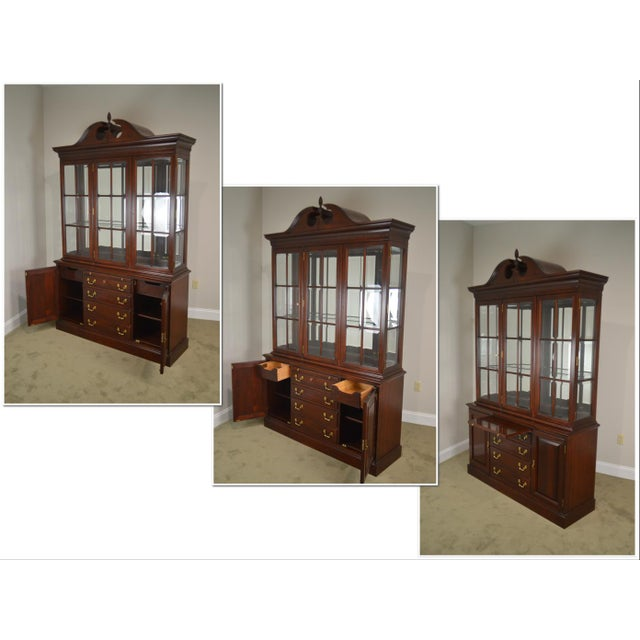 Chippendale Lexington Chippendale Style Heirloom Solid Mahogany China Cabinet Top Buffet For Sale - Image 3 of 13