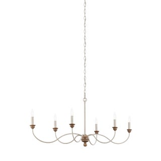 Nathan 6 - Light Chandelier Chalk Washed & Beachwood For Sale