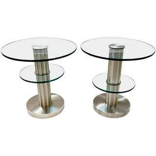 1990s Gio Ponti for Fontana Arte Clear Glass and Nickel Round Side Tables - a Pair For Sale