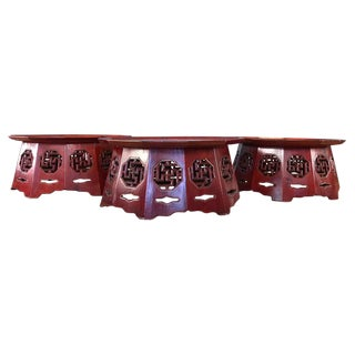 Meiji Period Red Lacquer Octagon Low Table or Plant Stand, 3 Available For Sale