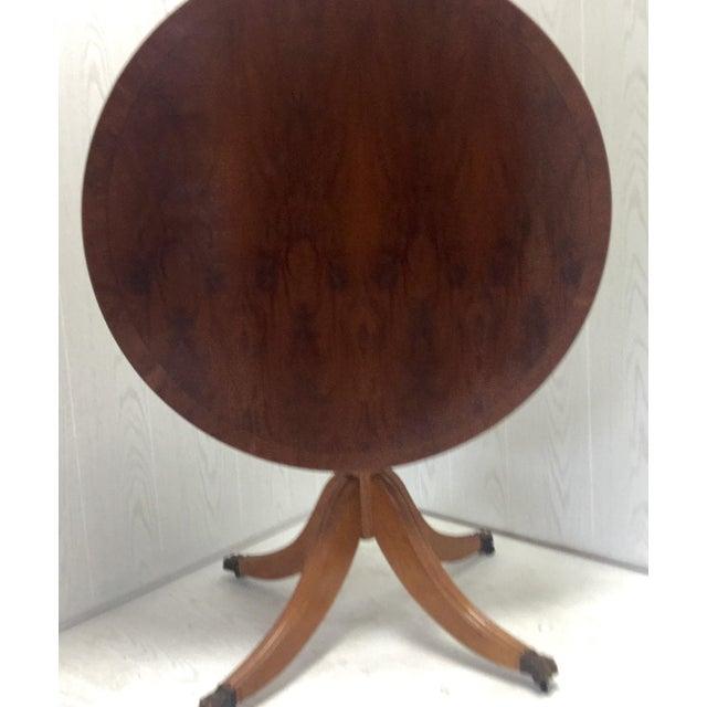 Yew Wood Top Tilt Top Pedestal Table - Image 3 of 5