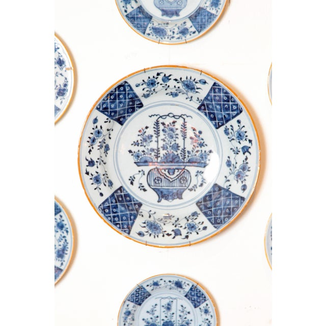 Asian Chinese Flower Basket / Blue and White Delft Plates / Group of Seven For Sale - Image 3 of 13