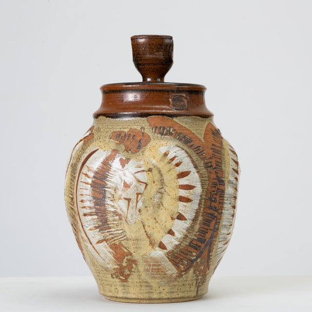 1970s California Modern Large Studio Pottery Jar With Lid by Don Jennings For Sale - Image 5 of 13