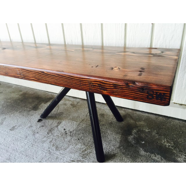 Reclaimed Wood & Industrial Steel Bench - Image 5 of 5