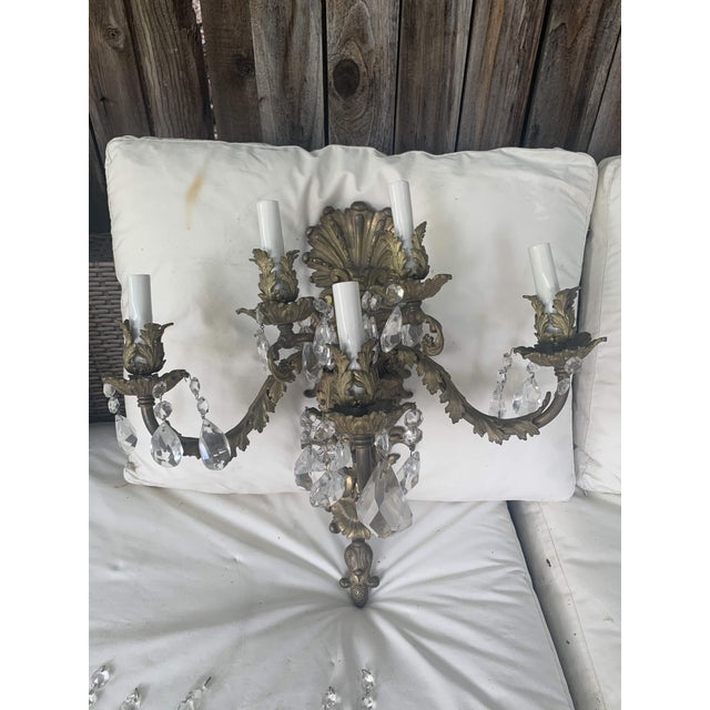 French Rococo Gilt Bronze and Crystal Sconces With Five Arms, Circa 1820 - a Pair For Sale - Image 12 of 13