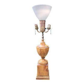 Antique Hand Carved Walnut Urn Table Lamp For Sale