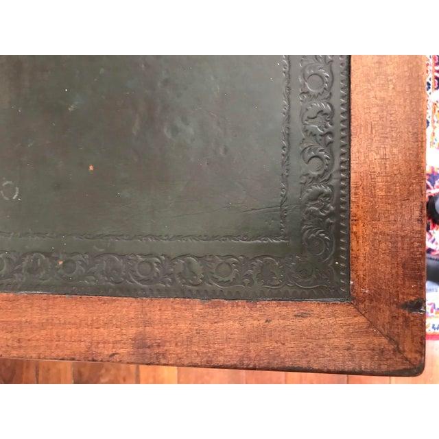 Animal Skin Antique Gothic Revival Oak Leather Top Partner's Desk For Sale - Image 7 of 12