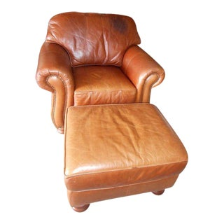 Distressed Leather Club Chair & Ottoman - A Pair