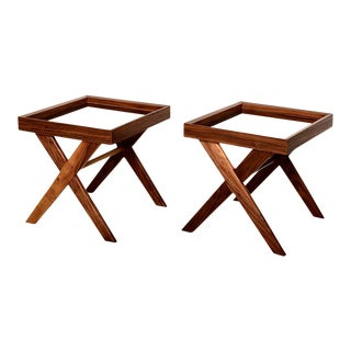 Pair of Pablex X-Base Walnut Side Tables For Sale