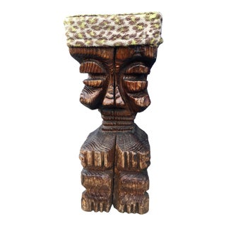 Rare Witco Midcentury Carved Tiki God Bar Stool