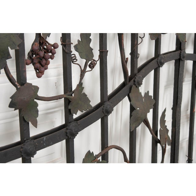 "Early 20th Century Pair of French Early 20th Century Painted Wrought-Iron ""Grapevine"" Gates For Sale - Image 5 of 13"