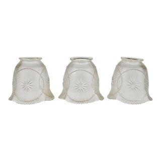 Vintage Textured Glass Chandelier Light Shades - Set of 3 For Sale
