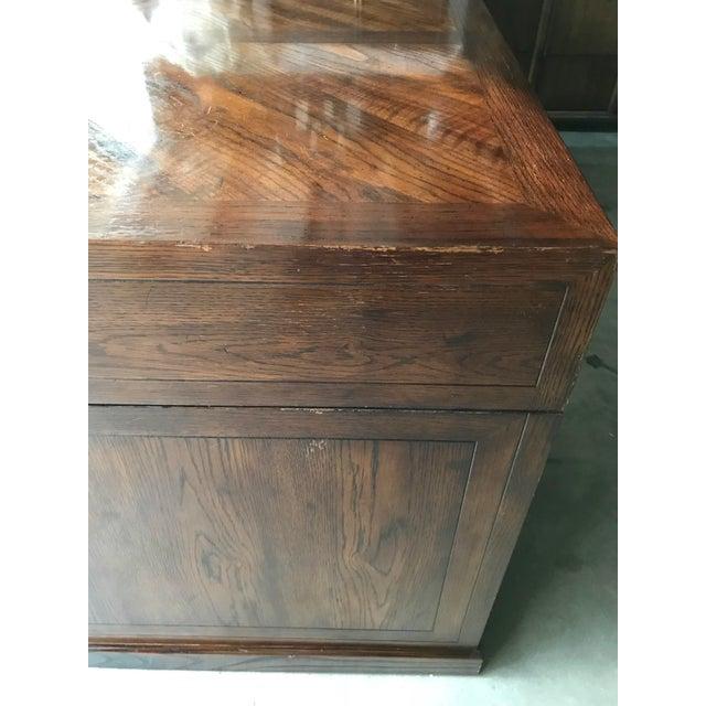 Henredon 1970s Campaign Henredon Desk With Brass Pull Details For Sale - Image 4 of 7